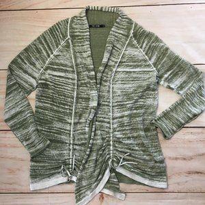 Nic+Zoe Cardigan Sweater Green & White
